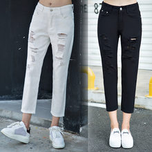 Fashion High Waist Black Jeans Women Spring Summer Boyfriend Loose Ripped Hole Causal Straight Denim Pants Plus Size(China)