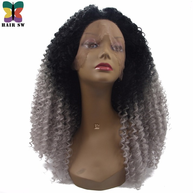 Hair Sw Long Synthetic Afro Kinky Curly Lace Front Wig Afro Grey