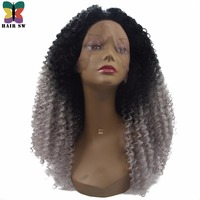 HAIR SW Long Synthetic Afro Kinky Curly Lace Front Wig Afro Grey Ombre Natural Looking Dip Dye 180% Density Wig For Afro Women