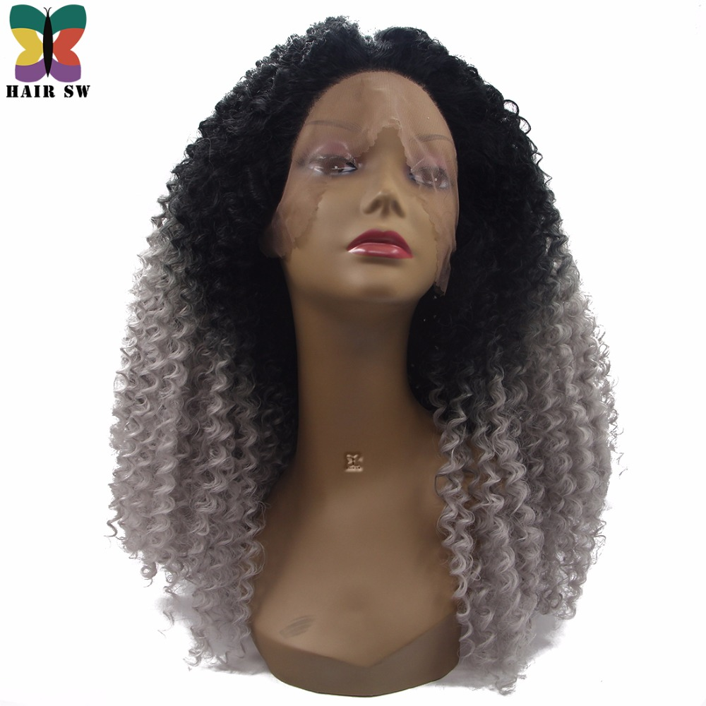 HAIR SW Long Synthetic Afro Kinky Curly Lace Front Wig Black Grey Ombre Natural Looking Dip