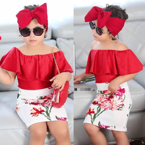 US Fashion Kid Baby Girls Off Shoulder Tops Floral Skirt Headband Outfit Clothes
