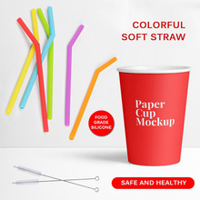 50pcs Silicone Reusable Drinking Straws Straw Sets With Cleaning Brush Food-grade Safe Home Bar Accessory