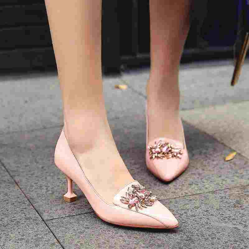 KRAZING POT New fashion brand shoes high heel party crystal pink women pumps work wedding pointed toe cow leather lady shoes 69 2017 new fashion brand spring shoes large size crystal pointed toe kid suede thick heel women pumps party sweet office lady shoe