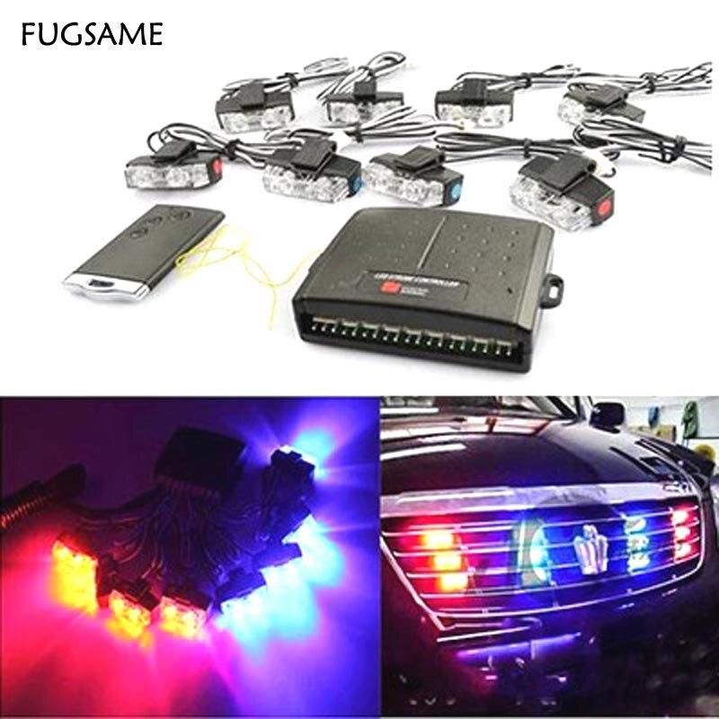 FUGSAME 48 W Sem Fio Strobe DRL Car Luz De Advertência Cuidado Bombeiro piloto Luzes Correndo Luzes de Estacionamento Car Styling luzes Da Polícia