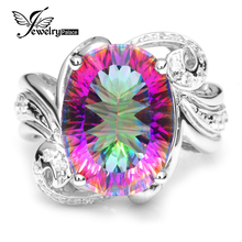 Luxurious Cocktail Ring 9.5ct Real Gem Stone Rainbow Hearth Mystic Topaz Ring Concave Pure Stable 925 Sterling Silver Jewellery Ladies