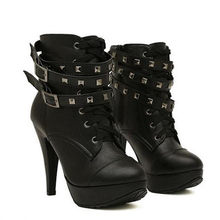 11c05e080 2018 New Women Black Ankle Boots Motorcycle Thin High Heel Double Buckle  Gothic Punk Platforms Botas Mujer H-037