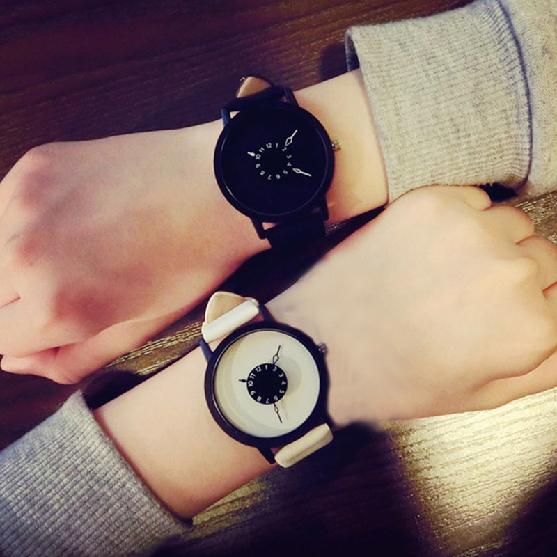 Simple Fashion Korean Lovers Couple Quartz Watch Leather Clock Men And Women Wristwatches Personality Student Watches LL