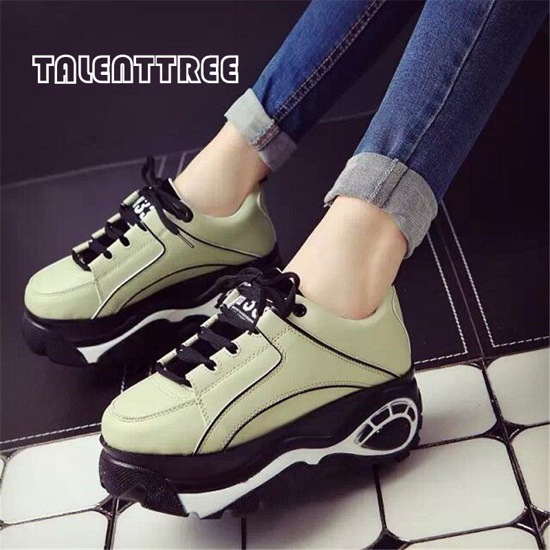 Women Sneakers Casual Shoes Harajuku 2018 Platform Elevator Canvas Shoes Woman Thick Soled Zapatos Mujer Creepers Muffin Gz