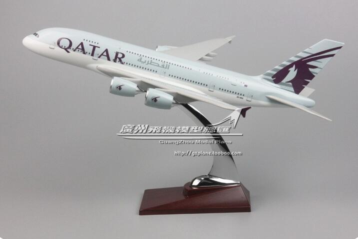 36CM Alloy Metal Plane <font><b>Model</b></font> Air QATAR Airways <font><b>A380</b></font> Airlines Airplane <font><b>Model</b></font> QATAR <font><b>Airbus</b></font> 380 image