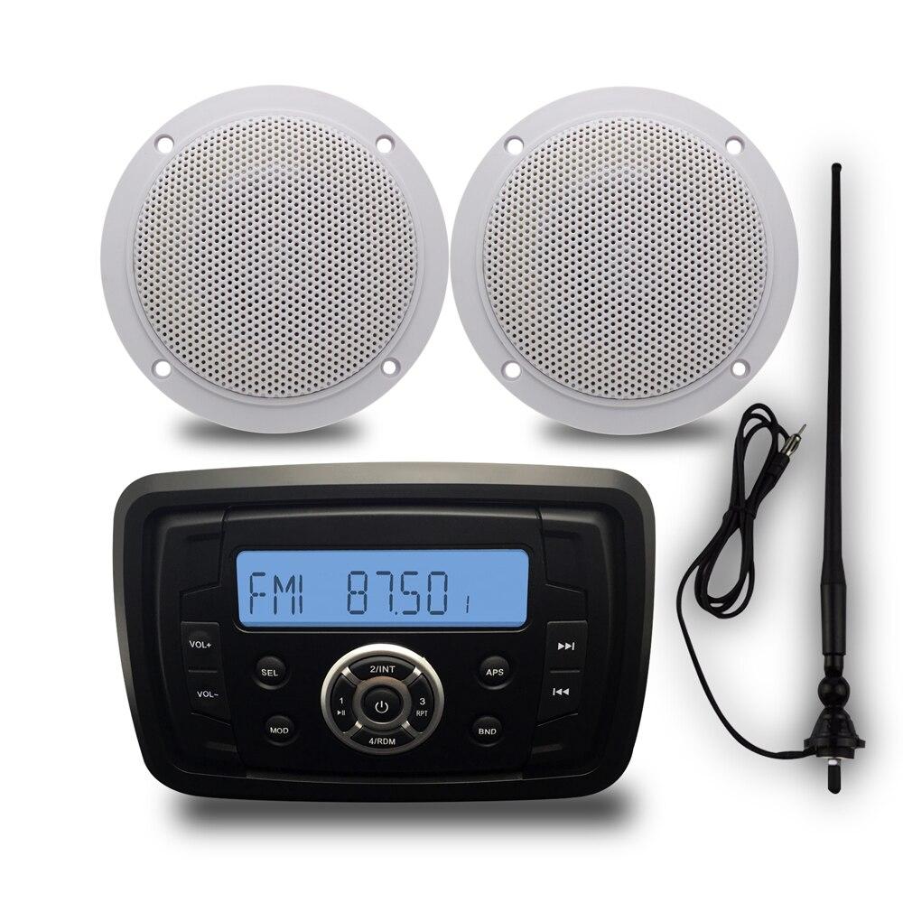 Морской Bluetooth стерео радио мотоциклов аудио Автомобильный MP3 плеер + 1 пара 4 дюймов Открытый Динамики + морской антенны для лодки ATV UTV