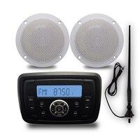 Marine Bluetooth Stereo Radio Motorcycle Audio Car MP3 Player + 1Pair 4 inch Outdoor Speakers + Marine Antenna For Boat ATV UTV