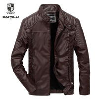leather jacket men casual leather jacket men's Slim thin section stand collar motorcycle jacket plus velvet warm jacket Coat