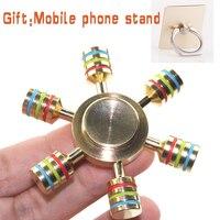 Six Corner Copper EDC Hand Finger Fidget Spinner Long Time Rotation High Quality Fast Shipping Torqbar