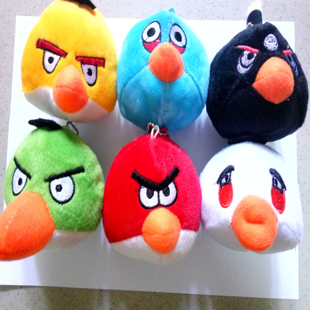 6pcs 10cm   Cute flying Terence Bomb Chuck red blue Hal Bird plush toy series cartoon doll for kids Christmas gifts