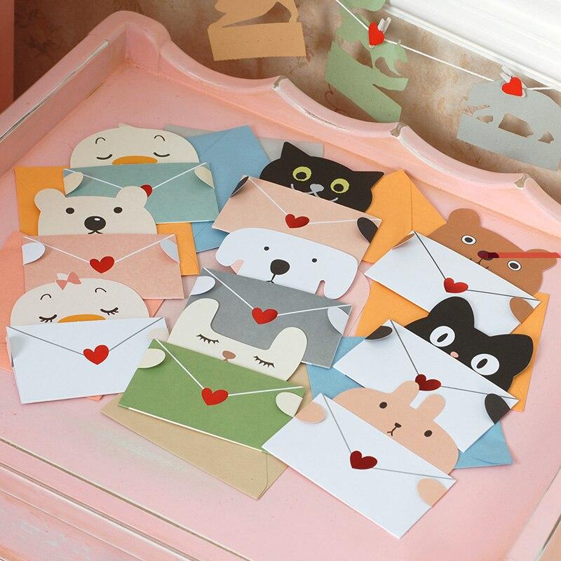 9 sets Cartoon animal envelope message card thank card baby birthday greeting card holiday cards Universal sheet