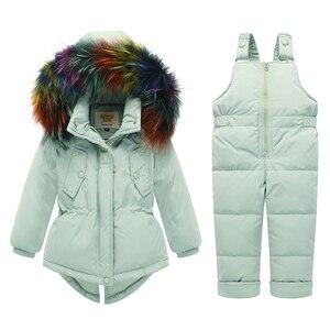 Image 3 - Russo inverno crianças conjuntos de roupas pato quente para baixo jaqueta para o bebê da menina das crianças casaco de neve wear crianças terno gola de pele