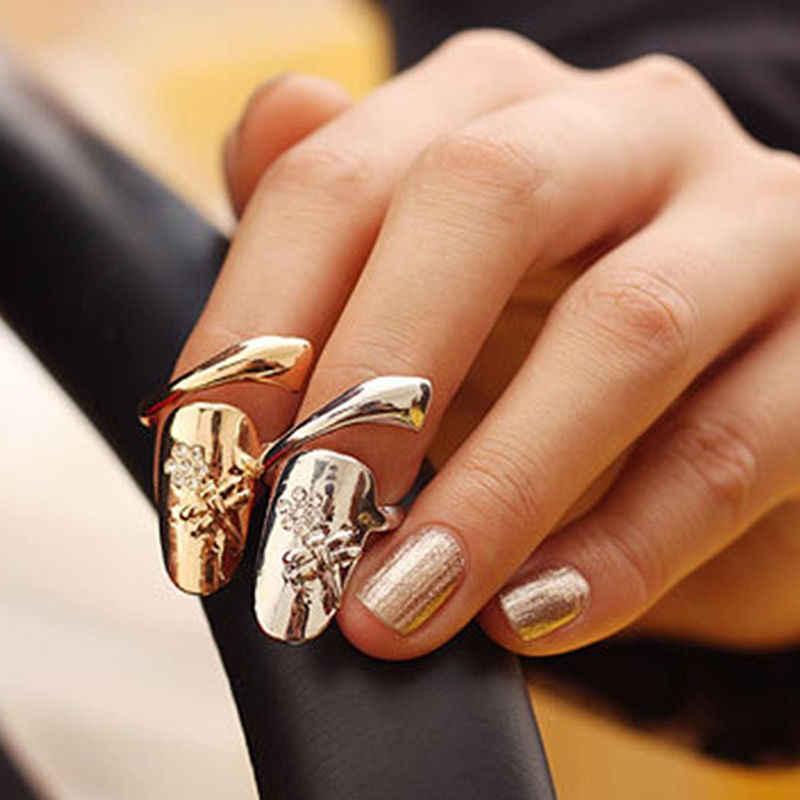 JETTINGBUY Thời Trang Phong Cách Phong Cách Punk Vàng Bạc Ngón Tay nails Nhẫn Với Pha Lê Dragonfly Fine Jewelry cho Phụ Nữ Đồ Trang Sức Thời Trang