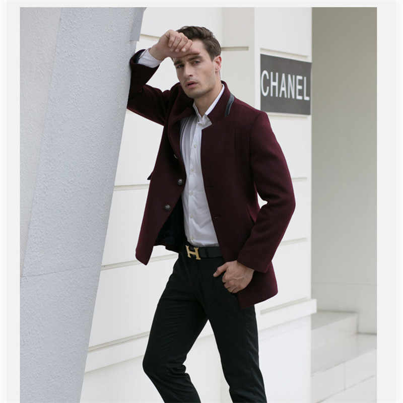 2018 Smart Casual Formal Wool Mens Clothing Overcoats Fashion Winter Dress  Coat Mens Plus Size