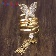 Trendy Long Chain Gold Tassels Big Butterfly Ring Party Hollow Punk Three Finger Rings Fashion Jewelry(China)