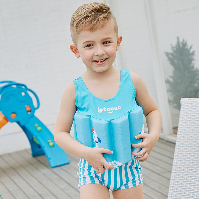 4bdd2a2703 SABOLAY 2018 Boys Float Swimming Suits Striped One-piece Buoyancy Swimwear  Children Detachable Swimsuits Kids Training Swimming