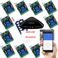 Broadlink RM Pro + 12 Receptor, iphone/android WIFI + RF, 1 Channel 220 V 30A Inalámbrico Sistema de Interruptor de Control remoto Casa Inteligente