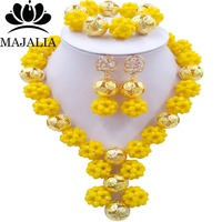 Trendy nigerian wedding african bead yellow nigerian wedding african beads jewelry set Crystal Free shipping Majalia-494