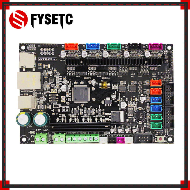 3D Printer 32bit Arm Platform Smooth Control Board MKS SBASE V1.3 Open Source MCU-LPC1768 Support Ethernet Preinstalled Heatsink 3d printer main control panel sbase v1 3 open source firmware 32 motherboard