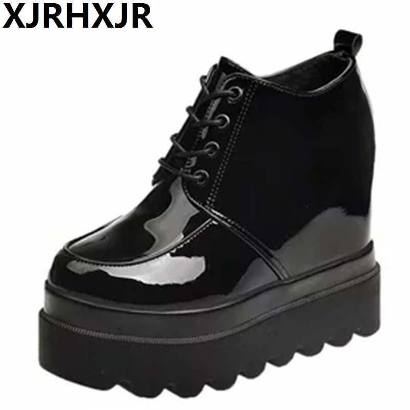 2019 High Platform Patent Leather Casual Shoes Women Autumn Winter Wedge Ankle Boots For Women 12 CM Height Increasing Sneakers Сникеры