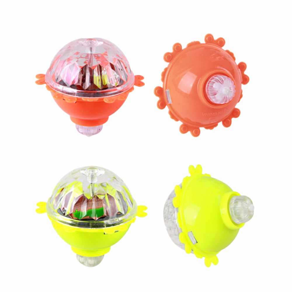 1 Pcs Warna Flash LED Cahaya Mainan Musik Gyro Peg-Top Spinner Berputar Mainan Klasik Anak Mainan