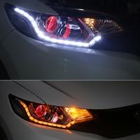 2Pcs Lot White Yellow Flexible Daytime Lamp Switchback Strip DRL For Honda Pilot FIT City CIVIC