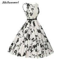New Summer Dress Women Party Evening Elegant Vintage Summer Dress White Vestidos Sundress Wholesale Floral Printed