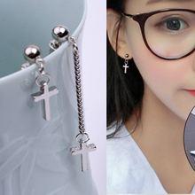 Fashion punk asymmetrical earrings cross stars silver long tassel drop  temperament seaside women girls jewelry gifts