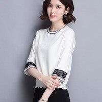 2018 Autumn AW new Women's ice silk T shirt O neck elegant short lace T shirt