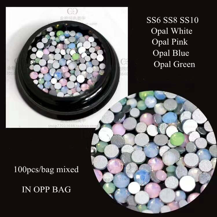 100pcs Cute Crystal Opal Mix-Color Mix-Size Flatback Crystal Nail Rhinestone Different Sizes SS6-SS10 unfoiled mix sizes 1440pcs crystal
