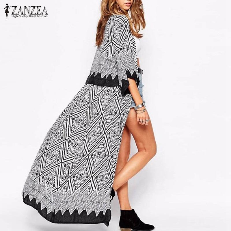 Boho ZANZEA סתיו 2018 חדש להגיע נשים חולצות חולצות רופף חצי שרוול הדפס ארוך קימונו קרדיגן Blusas חוף רזה Outerwear