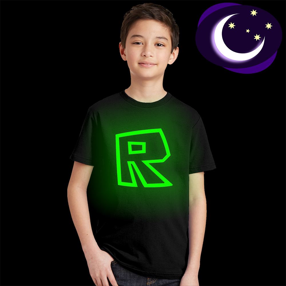 Luminous Roblox Kids T Shirt Hot Game Logo Children T-shirt Glow In Dark Geen Light Teens Tshirt Toddler Boys Girls Tops Tees luminous black panther kids t shirt glow in dark teens boys summer t shirt fluorescent girls cool super hero tshirt baby clothes