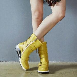 Image 5 - FEDONAS najnowsze kobiety kliny wysokie obcasy buty ze skórki cielęcej klamry Punk buty motocyklowe damskie miękkie skórzane wysokie ciepłe buty