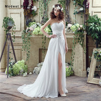 Sexy Split Cheap White A Line Sweetheart Beaded Pleated Wedding Dresses 2017 Formal Women Garden Bridal