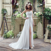 Sexy Split Cheap White A-Line Sweetheart Beaded Pleated Wedding Dresses 2017 Formal Women Garden Bridal Gowns vestido de noiva