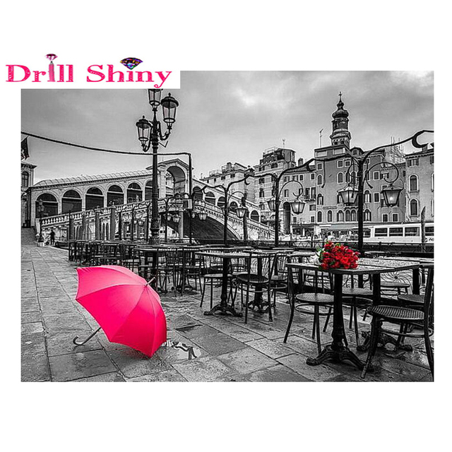 Full Paste Diy Diamond Painting Red Umbrella Black White Background