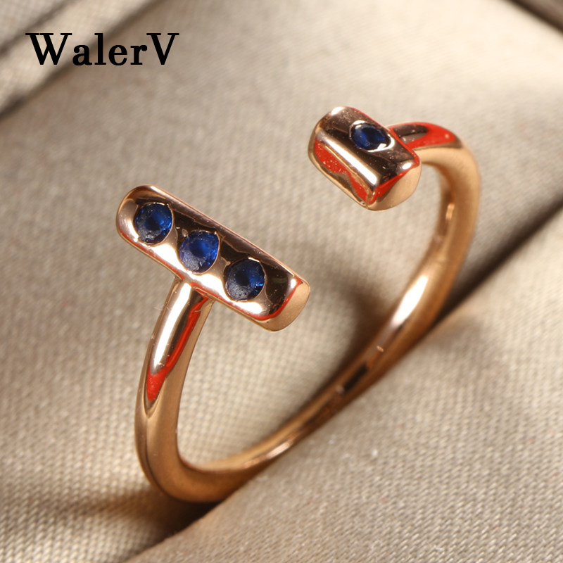 WalerV New Gold Color Rings Womens Ring Fashion Charm Personality T / Letter Shape Open Ring Blue Crystal /wedding/ Party Gift