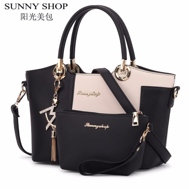 SUNNY SHOP luxury leather bags handbags women famous brands shoulder bags female high quality designer casual tote crossbody bag