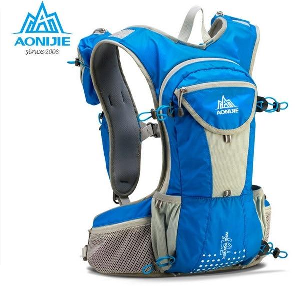 ФОТО NEW AONIJIE 12L Running Backpack Kettle Package Marathon Cycling Bags Running Vest Kettle Sport Bag Waterproof Nylon Bag E905