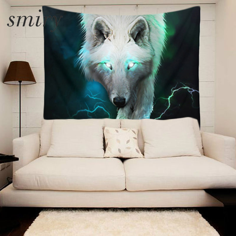 Smiry 3D print The forest wolf pattern Polyester Tapestry size 150x130 cm Beach Blanket Room Divider