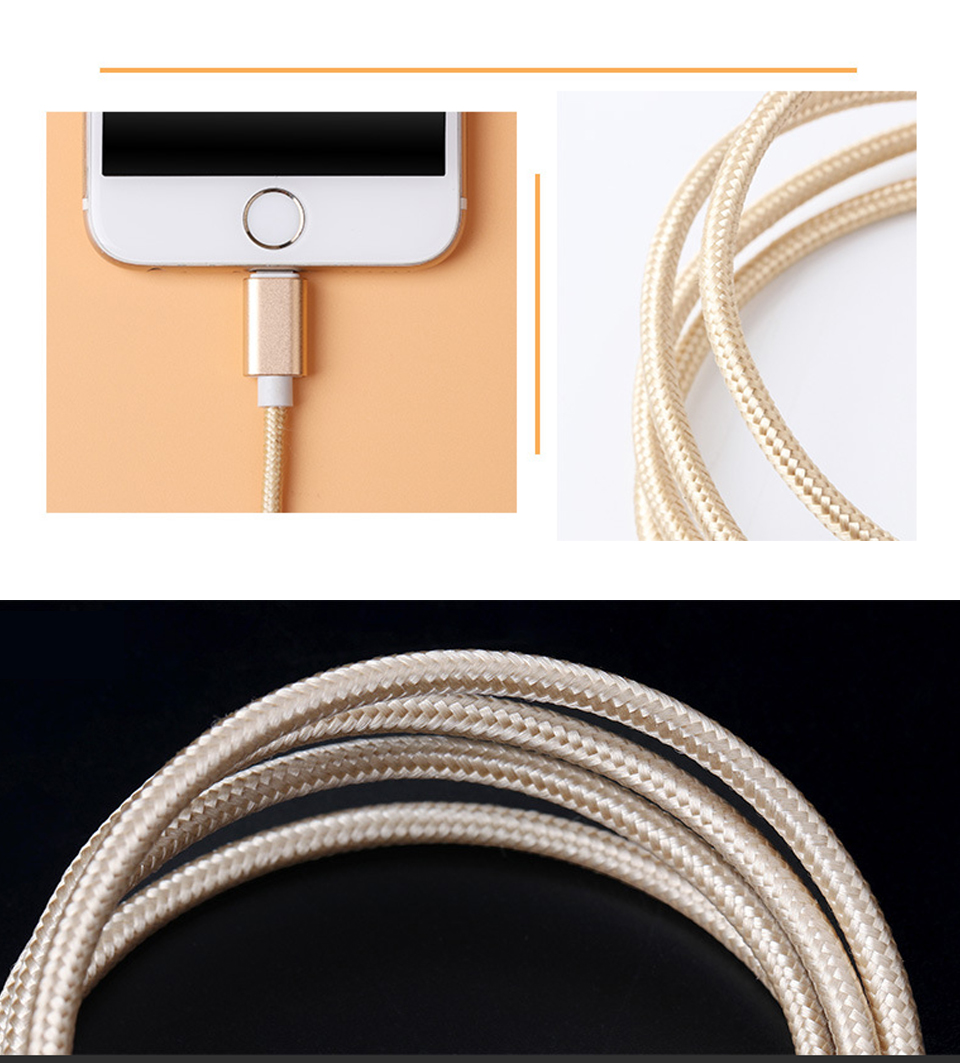 1m 1.5m 2m 5V2A Nylon Data Cable Fast Micro USB Charging For Data Transmission Cables Android Type-c iOS System For Mobile Phone (5)