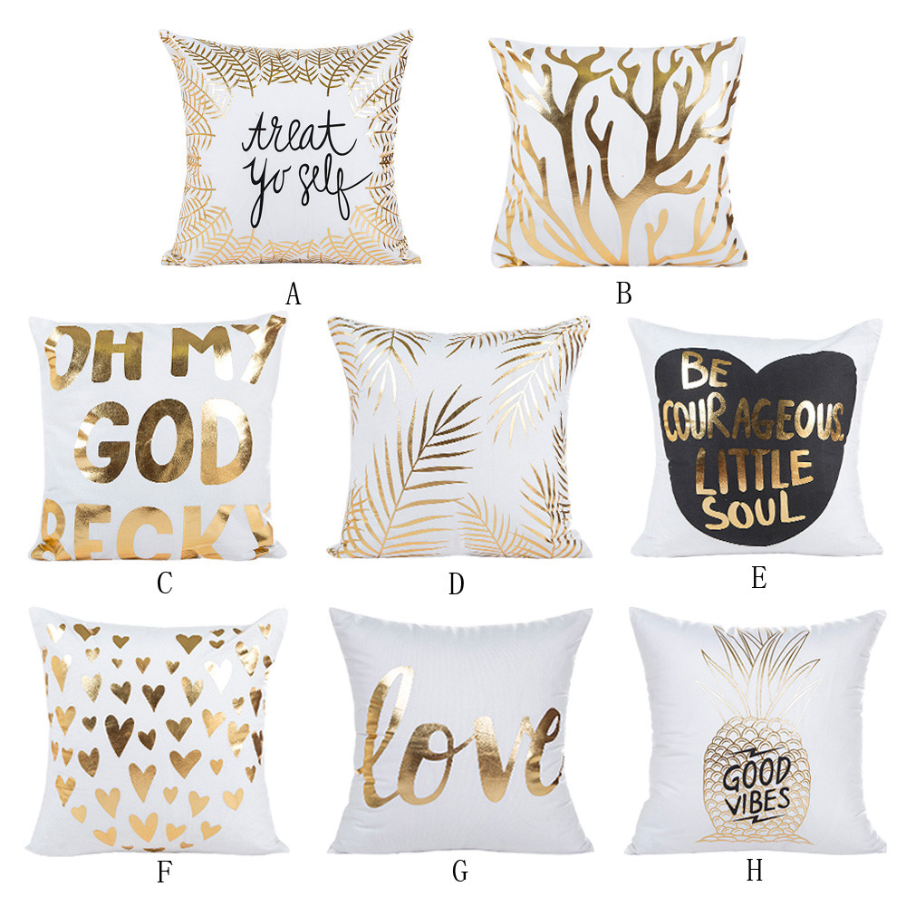 Gold Foil Printing Pillow Case Sofa Waist Throw Cushion Cover Home Decor Letters Decorations For Home 45x45cm Wholesale EY11