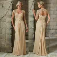 d0ec2002801 Плюс размеры бисером цвет шампанского синий кружево Мать невесты платья для  женщин 2019 шифон 3