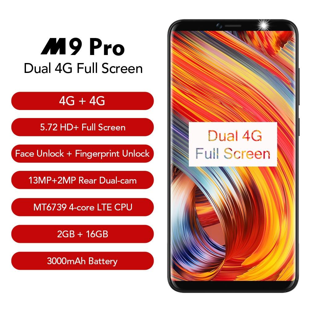 LEAGOO M9 PRO Smartphone 5.72 18:9 Full Screen Face Unlock 2GB RAM 16GB Android 8.1 MT6739V Quad Core Fingerprint Mobile Phone ...