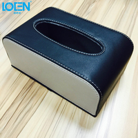 High Quality Durable PU Leather Universal Tissue Box Holder Black Beige Paper Rack For Home Office