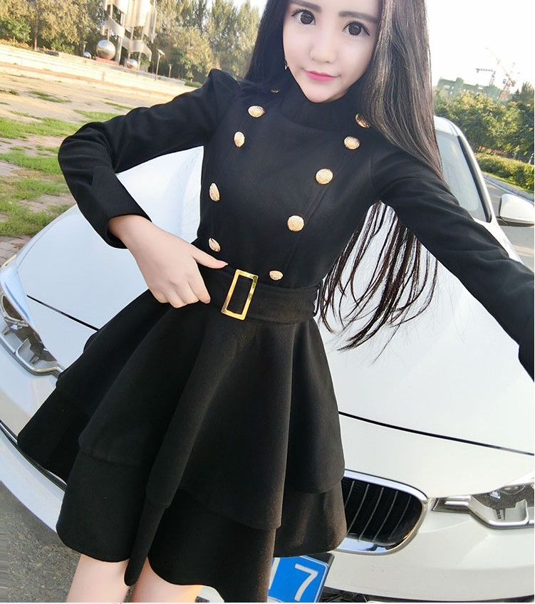 2017 Hot Selling Girls Korean Style Black Dresses Slim -5799